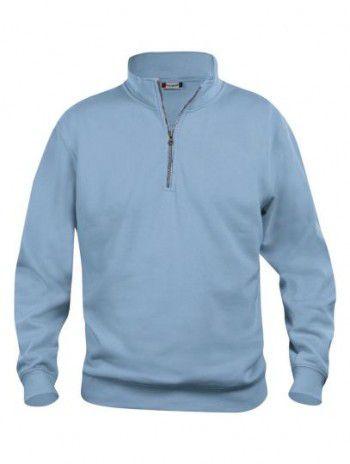 021033 57 Clique Bascic Half Zip Sweater Licht Blauw