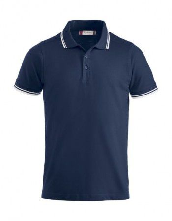 028219 580 Clique Polo Amarillo Donker Blauw contrasterende bies