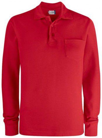 028235 35 Clique Basic Polo Lange Mouwen met Pocket Rood