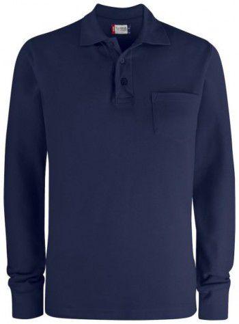 028235 580 Clique Basic Polo Lange Mouwen met Pocket Donker Blauw
