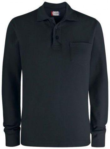 028235 99 Clique Basic Polo Lange Mouwen met Pocket Zwart