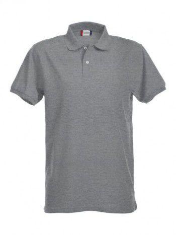 028240 95 Clique  Stretch Premium Heren polo  grijs melange