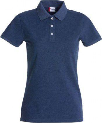 028241 565 Clique Stretch Premium Polo Dames Blauw Melange