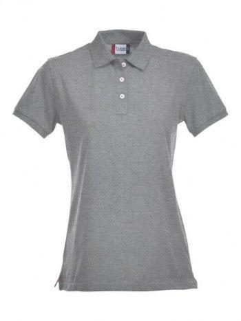 028241 95 Clique Stretch Premium Polo Dames grijs melange