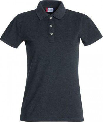 028241 955 Clique Stretch Premium Polo Dames antraciet melange
